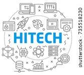 hitech linear illustration slide   Shutterstock .eps vector #735518230