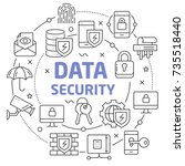data security linear   Shutterstock .eps vector #735518440