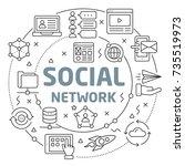 social network linear... | Shutterstock .eps vector #735519973