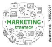 marketing strategy linear... | Shutterstock .eps vector #735520039
