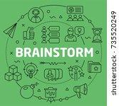 linear illustration brainstorm | Shutterstock .eps vector #735520249