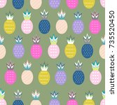 pineapple vector background.... | Shutterstock .eps vector #735520450