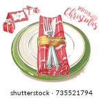 christmas table decorating... | Shutterstock .eps vector #735521794