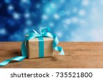 christmas gift or new year with ... | Shutterstock . vector #735521800
