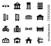 16 vector icon set   drawbridge ... | Shutterstock .eps vector #735524200