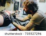 professional artist making... | Shutterstock . vector #735527296