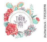 vintage greeting card with... | Shutterstock .eps vector #735528598