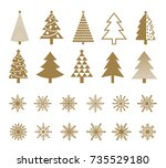 set of snowflakes and christmas ... | Shutterstock .eps vector #735529180