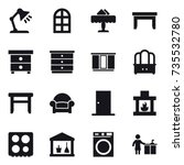 16 vector icon set   table lamp ... | Shutterstock .eps vector #735532780