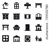16 vector icon set   table lamp ... | Shutterstock .eps vector #735532780