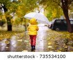 little child walking in the... | Shutterstock . vector #735534100