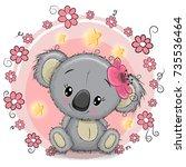 greeting card cute cartoon...   Shutterstock .eps vector #735536464