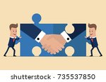 two businessmen holding puzzle...   Shutterstock .eps vector #735537850