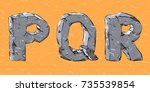stone font with cracked on a... | Shutterstock .eps vector #735539854