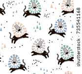 childish seamless pattern with... | Shutterstock .eps vector #735541168