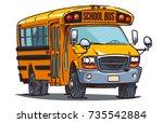 cartoon school bus isolated on ... | Shutterstock .eps vector #735542884