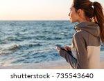 back view of pretty sport woman ... | Shutterstock . vector #735543640