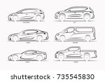 Stock vector set of vector car silhouettes side view of hatchback sedan coupe suv minivan pickup 735545830