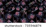 the cute pattern in flowers.... | Shutterstock .eps vector #735546874