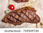 gourmet grill restaurant steak...   Shutterstock . vector #735549730