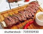 gourmet grill restaurant beef...   Shutterstock . vector #735550930