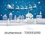 paper santa claus sleigh... | Shutterstock .eps vector #735551050