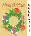 christmas wreath with decoration | Shutterstock .eps vector #735557308