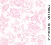 floral pattern. flower seamless ... | Shutterstock .eps vector #735558823