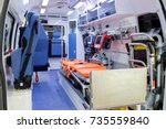 inside an ambulance with... | Shutterstock . vector #735559840