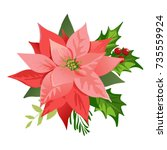 christmas poinsettia flowers... | Shutterstock .eps vector #735559924