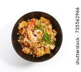teppanyaki fried rice with... | Shutterstock . vector #735562966