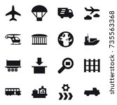 16 vector icon set   plane ... | Shutterstock .eps vector #735563368