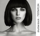 black and white fashion photo... | Shutterstock . vector #735569134