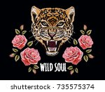 embroidery colorful floral... | Shutterstock .eps vector #735575374