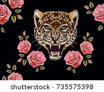 embroidery colorful floral... | Shutterstock .eps vector #735575398