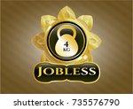 gold shiny emblem with 4kg... | Shutterstock .eps vector #735576790