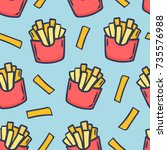 hand draw french fries. doodle... | Shutterstock .eps vector #735576988