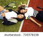 young pretty girlfriends... | Shutterstock . vector #735578158