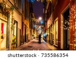 night old street with christmas ... | Shutterstock . vector #735586354