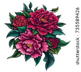 vector color peony flower on... | Shutterstock .eps vector #735589426