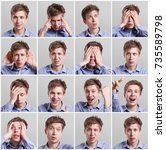 mosaic of young man expressing... | Shutterstock . vector #735589798