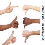 Small photo of Black and white hands gesturing at white isolated background. Multiethnic hands showing like and dislike, set of finger symbols