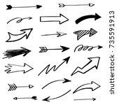 hand drawn set of arrow... | Shutterstock .eps vector #735591913