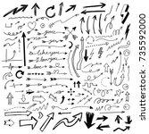 hand drawn set of arrow... | Shutterstock .eps vector #735592000