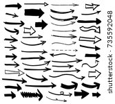 hand drawn set of arrow... | Shutterstock .eps vector #735592048