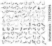 hand drawn set of arrow... | Shutterstock .eps vector #735592096