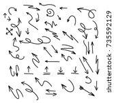 hand drawn set of arrow... | Shutterstock .eps vector #735592129