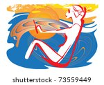beautiful young woman manages a ... | Shutterstock .eps vector #73559449