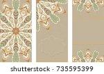 set of mandala cards for... | Shutterstock .eps vector #735595399