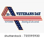 veterans day card. 11th... | Shutterstock .eps vector #735595930